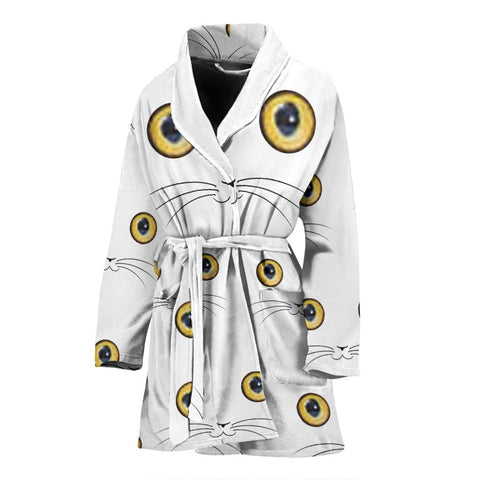 Cute Cat Eyes Print Women's Bath Robe