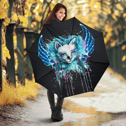 Cat With Wings Art Print Umbrellas