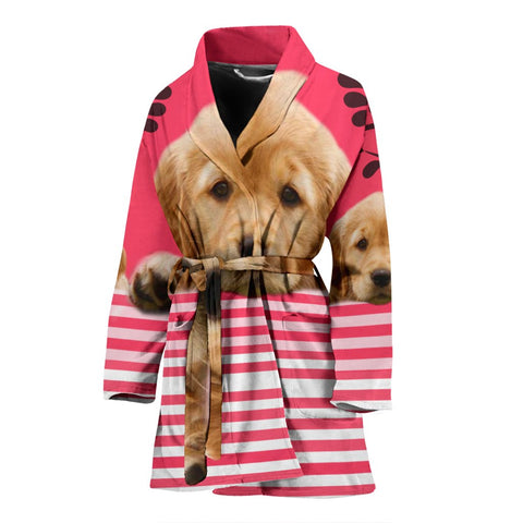 Cute Golden Retriever Dog Print Women's Bath Robe
