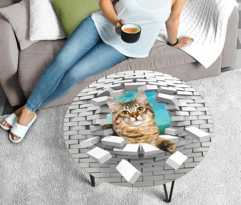 American Bobtail Cat Print Circular Coffee Table