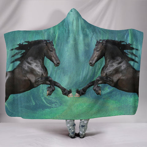 Amazing Andalusian Horse Print Hooded Blanket