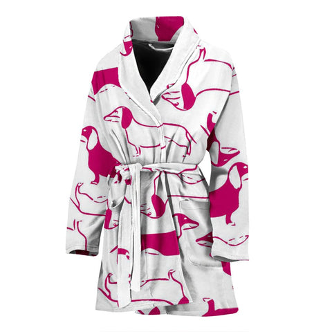Red&White Dachshund Dog Patterns Print Women's Bath Robe