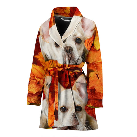 Lovely French Bulldog Print Women's Bath Robe