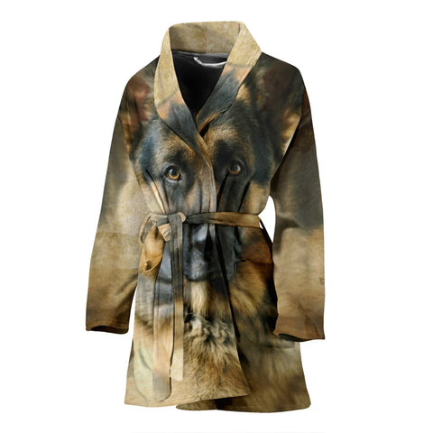 New German Shepherd Print Women's Bath Robe