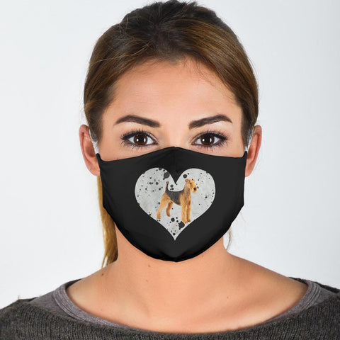Airedale Terrier In Heart Print Face Mask