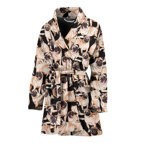 Pug In Lots Print Women's Bath Robe