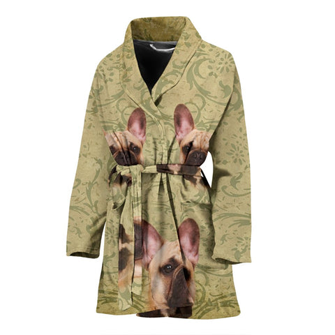 Cute French Bulldog Print Women's Bath Robe
