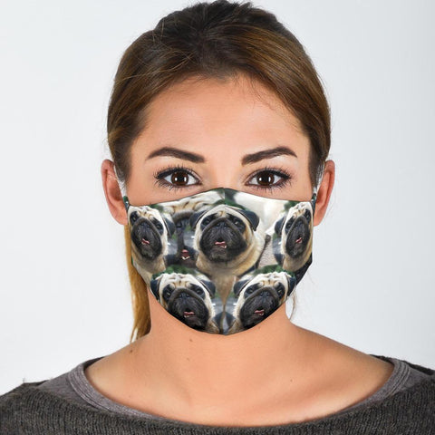 Lovey Pug In Lots Print Face Mask