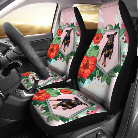 Rottweiler Floral Print Car Seat Covers