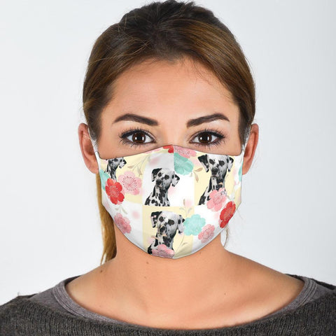 Dalmatian Floral Patterns Print Face Mask