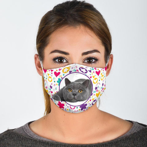 British Shorthair Cat Floral Print Face Mask