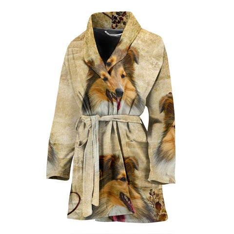 Shetland Sheepdog Print Women's Bath Robe