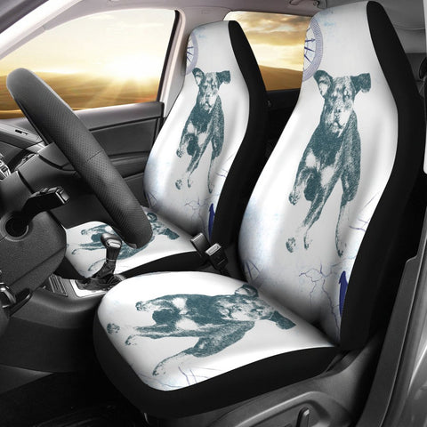 Black&White Rottweiler Print Car Seat Covers
