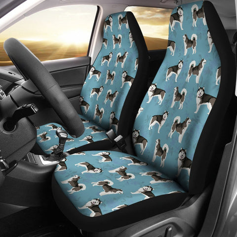 Alaskan Malamute Dog In Lots Print Car Seat Covers
