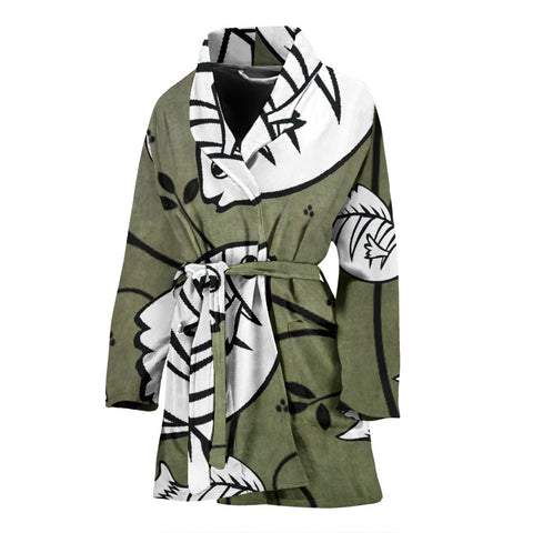 White Fish Print Women's Bath Robe