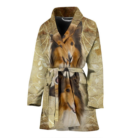 Lovely Collie Print Women's Bath Robe