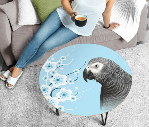 African Grey Parrot Print Circular Coffee Table