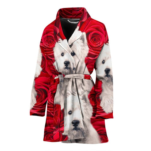 West Highland White Terrier On Rose Print Women's Bath Robe