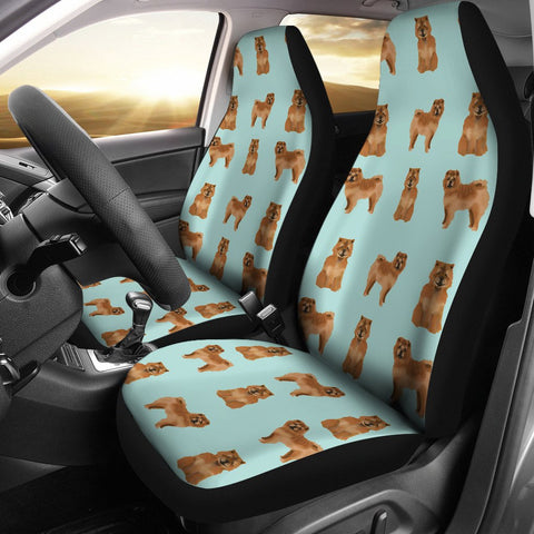 Cute Chow Chow Dog Pattern Print Car Seat Covers