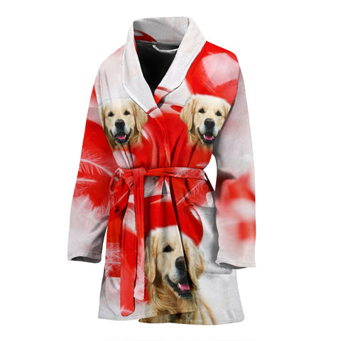 Golden Retriever Print Women's Bath Robe