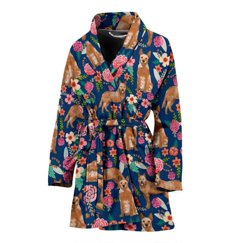 Australian Cattle Dog Floral Print Women's Bath Robe