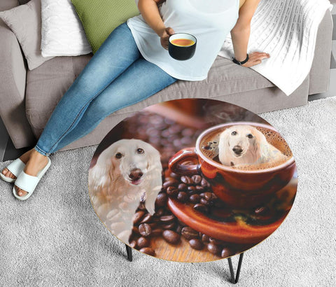 Afghan Hound Print Circular Coffee Table