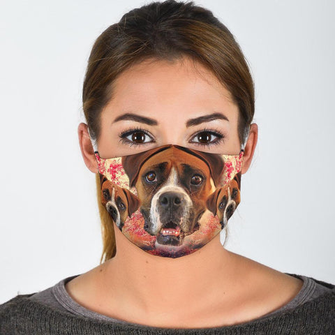 Boxer Dog On Pink Print Face Mask