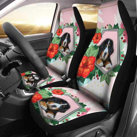 Bernese Mountain Dog Floral Print Car Seat Covers