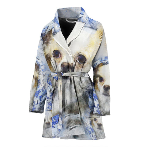 Cute Chihuahua Dog Color Art Print Women's Bath Robe