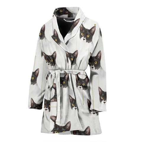 Cute Cat Patterns Print Women's Bath Robe