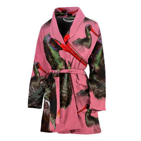 Black Stork Bird Print Women's Bath Robe