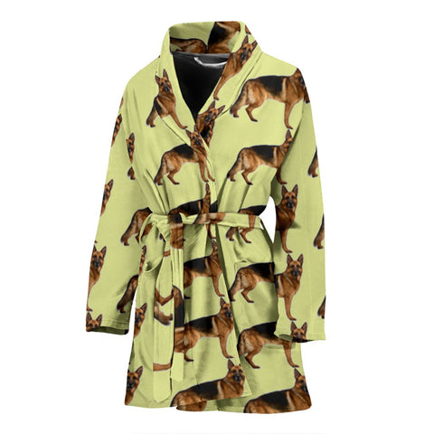 German Shepherd Dog Pattern Print Women's Bath Robe