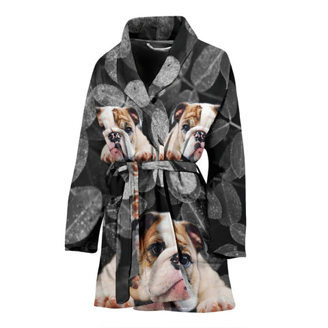 Cute Bulldog Print Women's Bath Robe