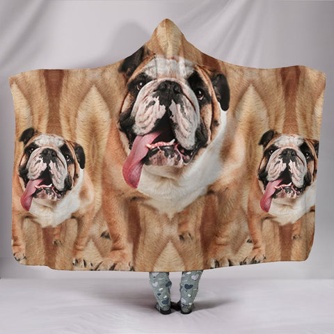 Amazing Bulldog Print Hooded Blanket