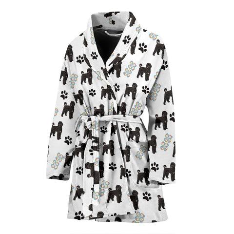 Portuguese Water Dog Patterns Print Women's Bath Robe