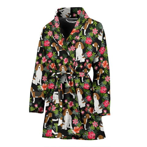Beagle Dog Floral Print Women's Bath Robe