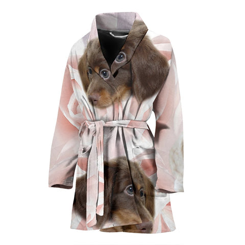 Dachshund Print Women's Bath Robe