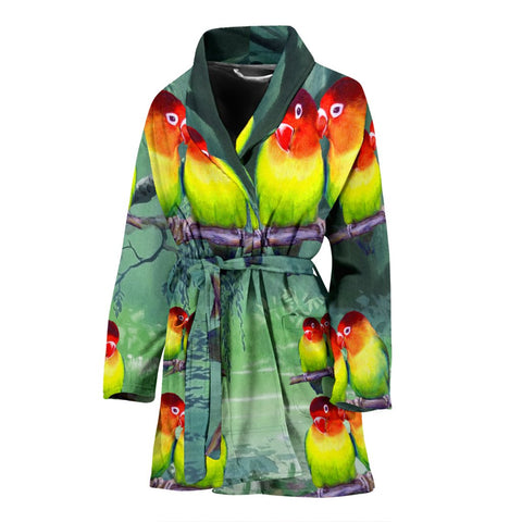 Cute LoveBird Art Print Women's Bath Robe