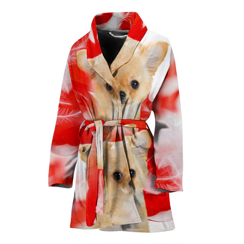 Chihuahua On White Print Women's Bath Robe