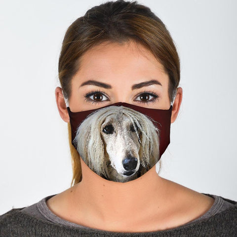 Afghan Hound On Red Print Face Mask