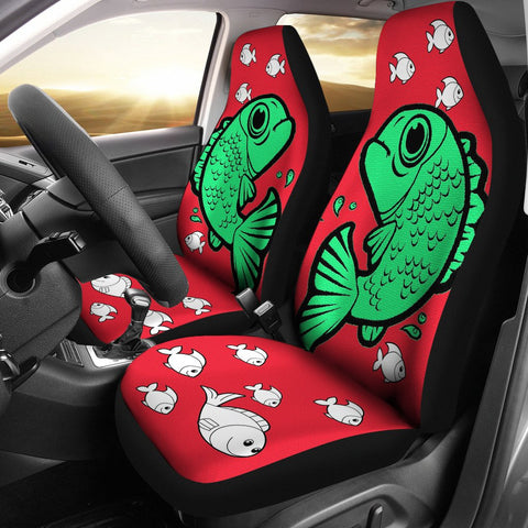 Cute Fish On Red Print Car Seat Covers