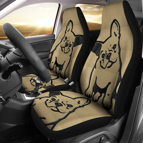 Cute BullDog Print Car Seat Covers