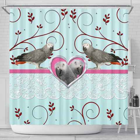 African grey parrot Print Shower Curtain