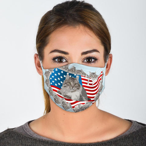 Cute Siberian Cat Print Face Mask