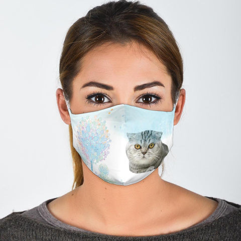 Cute Scottish Fold Cat Face Print Face Mask