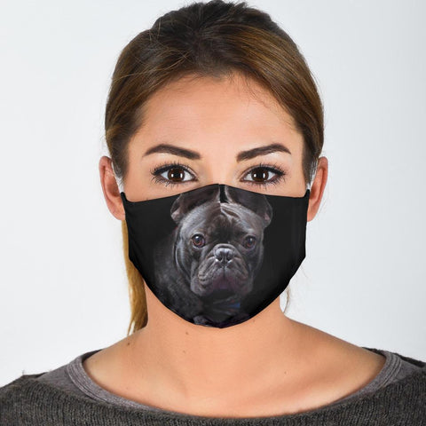 French Bulldog On Black Print Face Mask