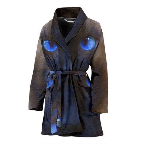 Amazing Siamese Cat Eyes Print Women's Bath Robe