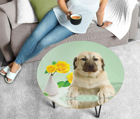 Anatolian Shepherd Print Circular Coffee Table