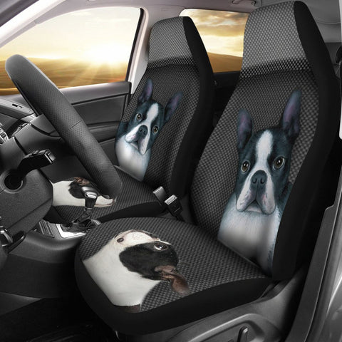 Cute Boston Terrier Print Car Seat Covers