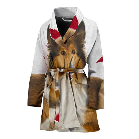 Collie On White Print Women's Bath Robe